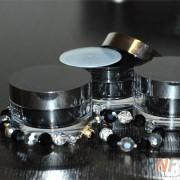 Баночка акриловая косметическая черная с серебром 50 мл.